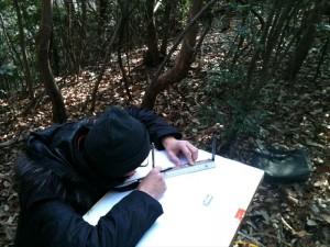 大東宇山城跡平板測量調査