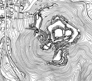 白山城跡略測図(『頭崎城跡発掘調査報告書』から掲載)
