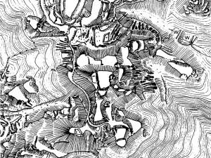 頭崎城跡中心部略測図(『頭崎城跡発掘調査報告書』から掲載)
