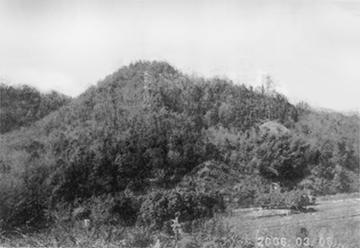 南より松尾山城跡を望む