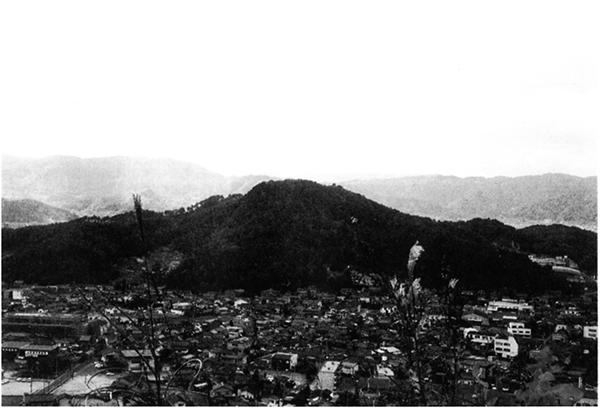 大佐山より望む 亀寿山城跡