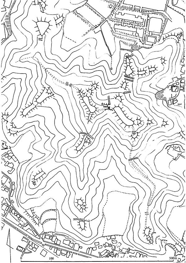 亀寿山城跡略側図 1/5000 原図 尾多賀・トレース 山口