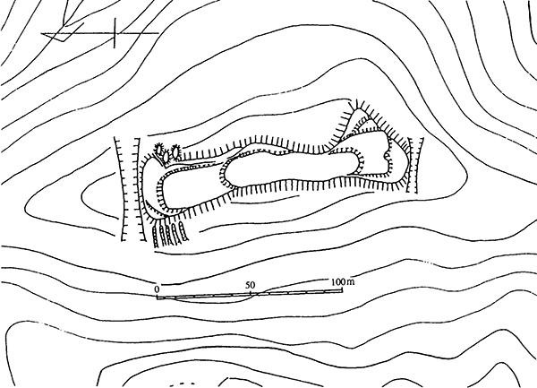 大石城跡略側図 1/2500 コンターは10m間隔