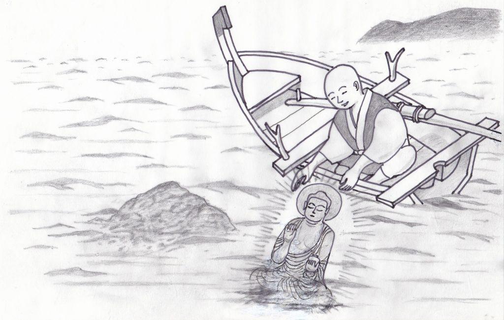 深津沖蛙岩の海底から薬師如来
